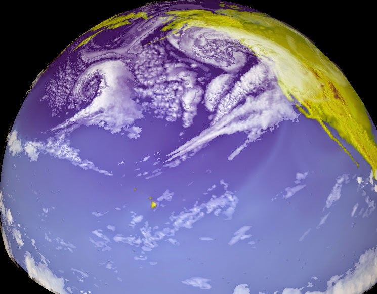 A snap-shot of cloud water from a simulation of the Pacific storm track. (Credit: NOAA) Click to enlarge.