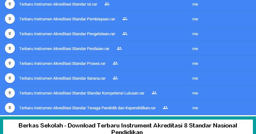 Berkas Sekolah Download Terbaru Instrument Akreditasi 8 Standar Nasional Pendidikan Berkas