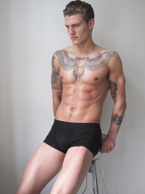 Mikkel Jensen shirtless tattoos