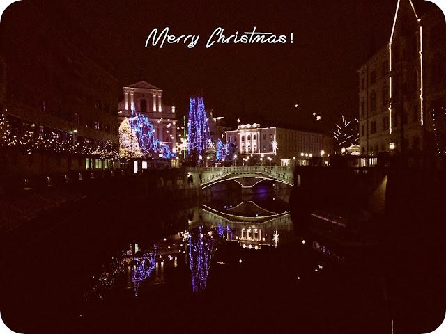 ljubljana lights, christmas card, slovenia, merry christmas