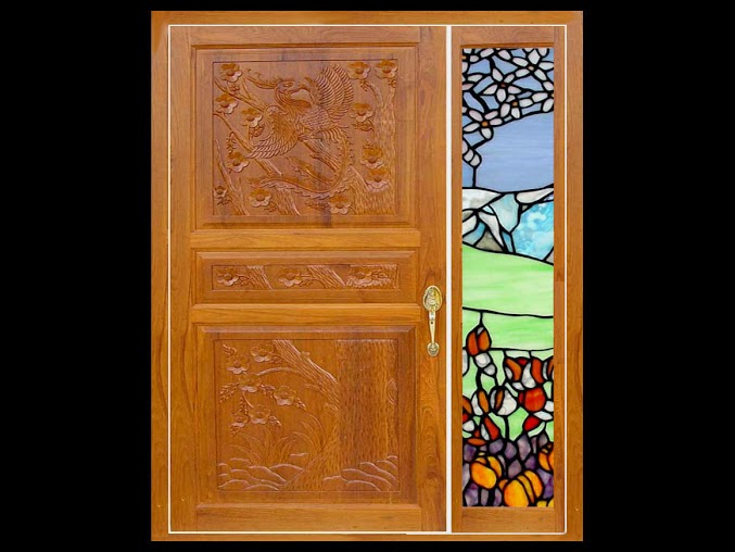 Kerala style wooden main door glass painted side window Main door wooden design