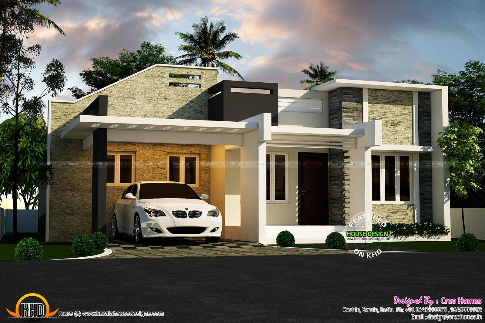 3 beautiful small house plans kerala home design and for Modern single floor house designs
