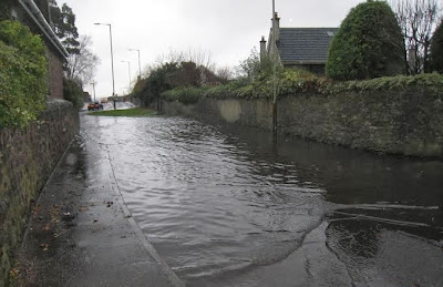Flooding in Cedar Road, Broughty Ferry on 23 December.2013