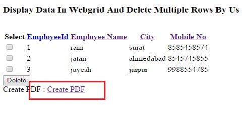 Create Pdf in mvc