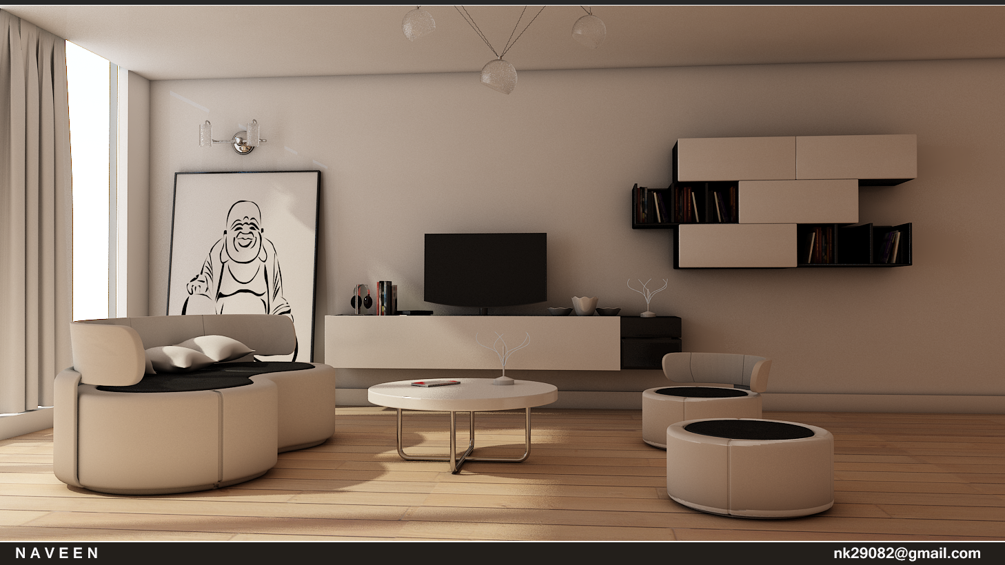 3d max living room design  My Work: 3ds max simple Living Room Design