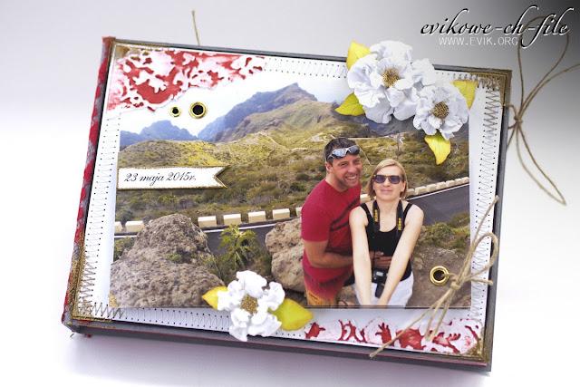 spellbinders rose creation, embossing na gorąco, Evik, Ewa Jarlińska, rękodzieło, kartka na ślub, kartka książka, czterolistna koniczyna, przeszycia na kartce