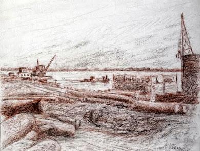 Desembarque de madeira no porto