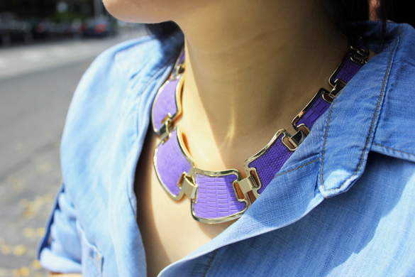 Sportsgirl Gold and Purple Statement Necklace