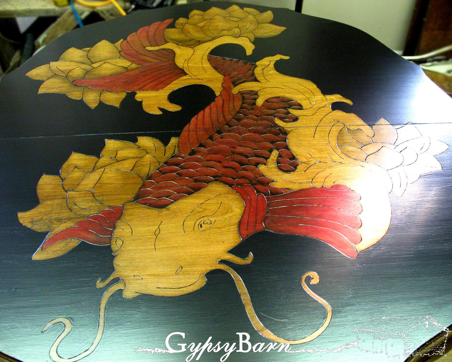 Gypsy Barn: The Koi Table. Using Stain and Glass Paint for amazing ...
