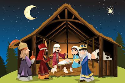 Nacimiento del Niño Jesús en ilustración para Navidad