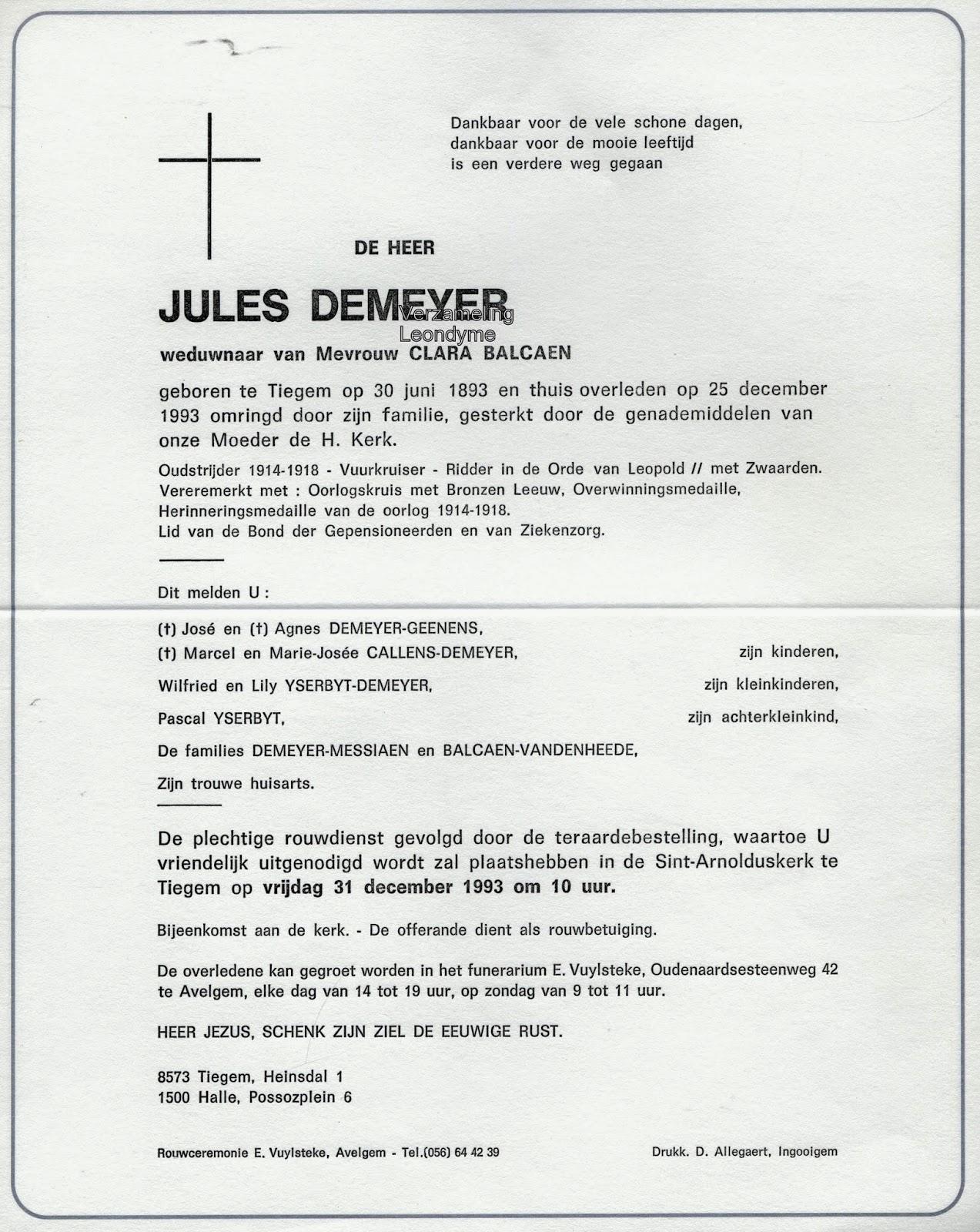 Rouwbrief, Jules Demeyer. Verzameling Leondyme