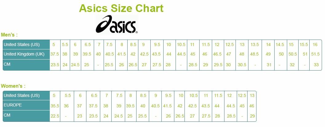 Asics shoe size adidas size chart