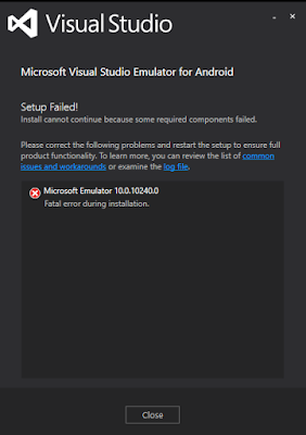 Fail To Install Visual Studio Emulator For Android On Windows Ten Home