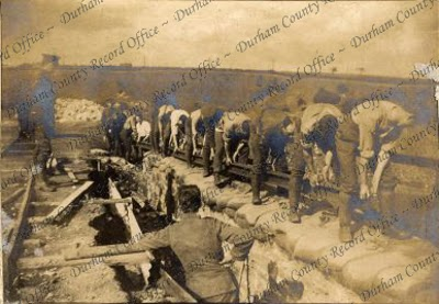 Soldiers of the 8th Battalion, The Durham Light Infantry, constructing a trench, 1914 (D/DLI 2/8/60(71))