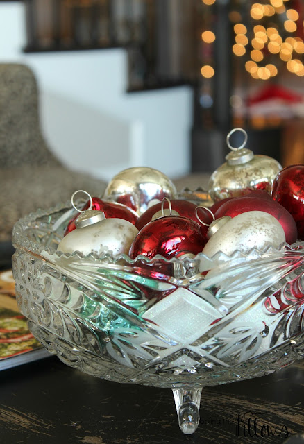Poofing the Pillows Christmas decorations - mercury glass ornaments in a bowl