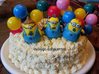 One in a Minion Cake with Handmade cake toppers
