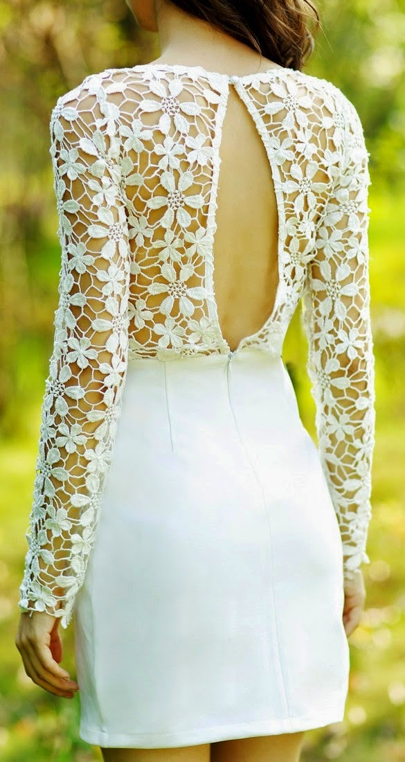 Super cute crochet detail open back dress fashion