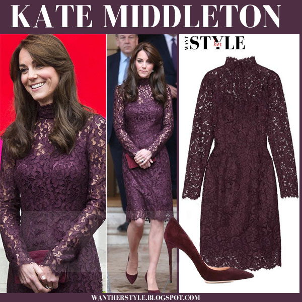 Kate Middleton in purple lace dolce gabbana dress and suede pumps what she wore october 2015