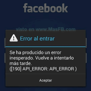 Error al entrar: API_ERROR 190 - MasFB
