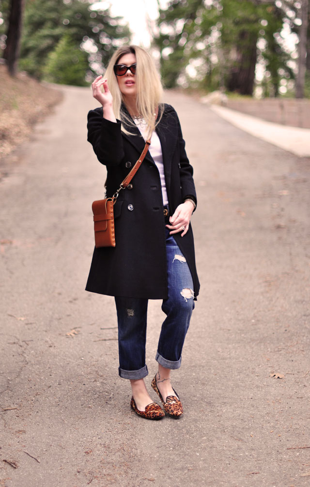 cognac and black, boyfriend jeans, leopard print