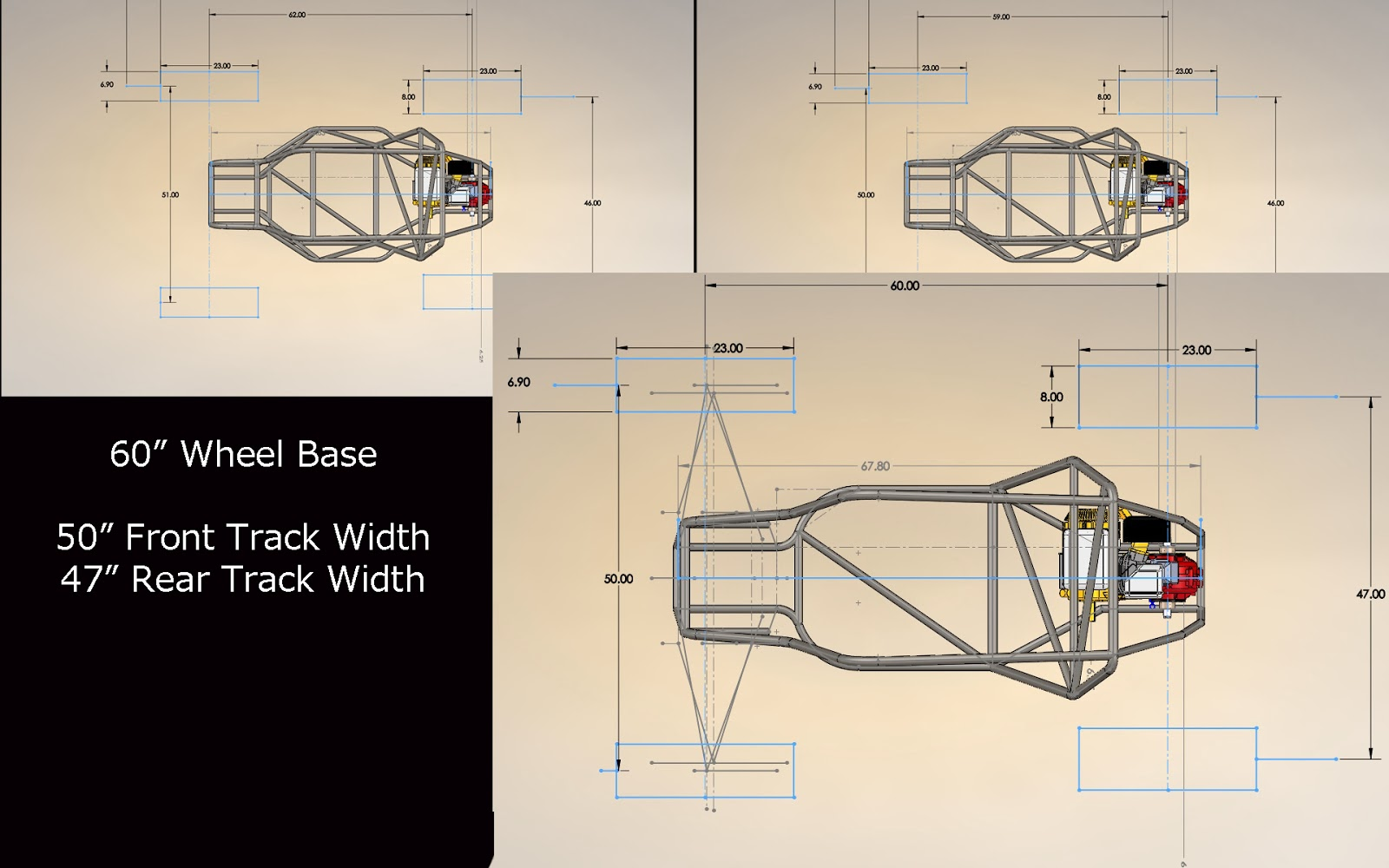 Ucsb Racing Baja Sae November 2013 50 Wiring Diagram Frame V21 Not Shown As Been Extended By A Few Inches After Drafting Wheelbase And Track Widths Over V20 We Have Come To The Following Target