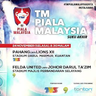 live streaming Piala Malaysia Suku Akhir 24 November 2015