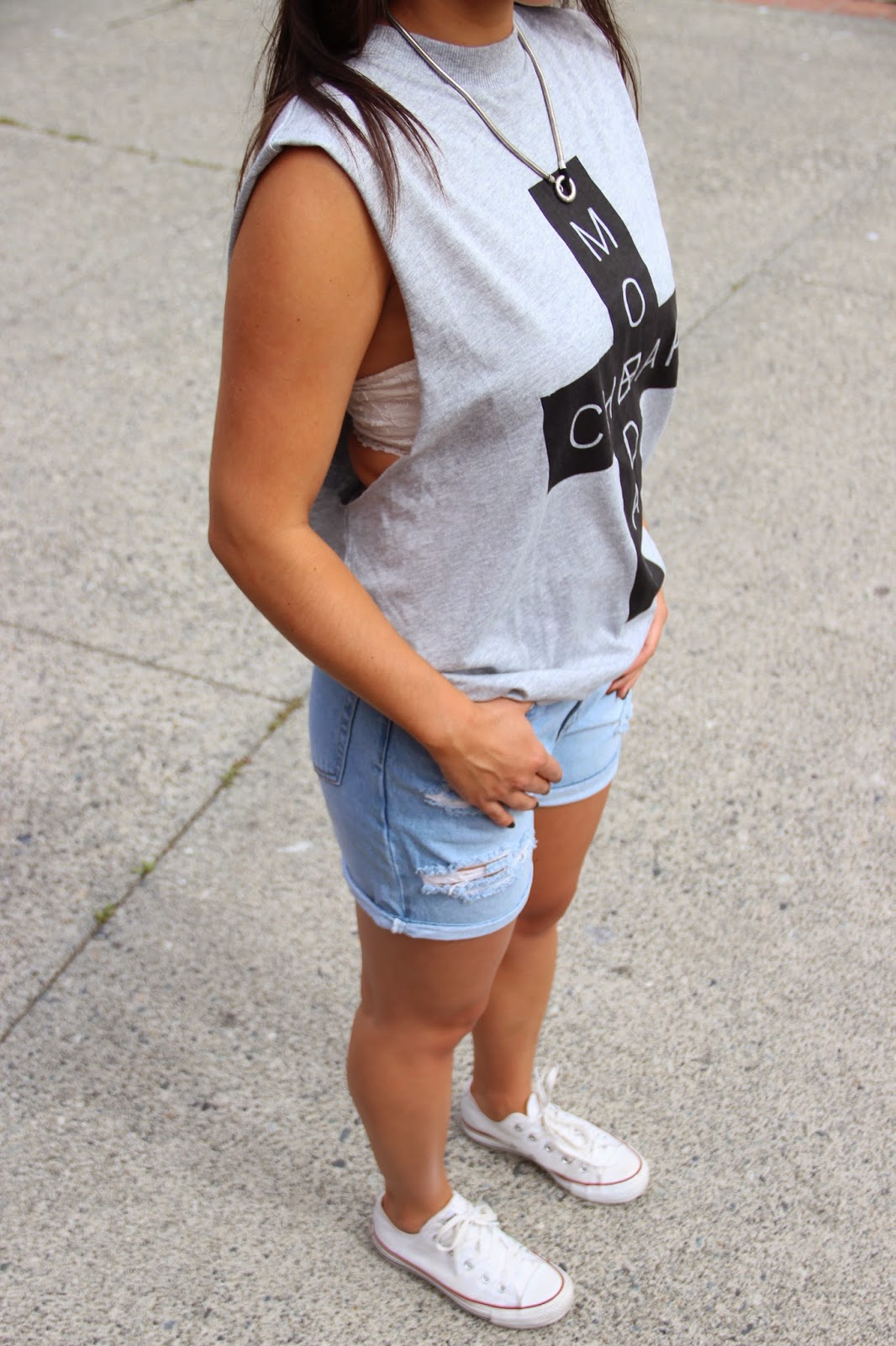 reunion boutique cheap monday top and denim shorts