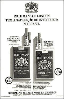 cigarros Rothmans, 1973; propaganda anos 70; história decada de 70; reclame anos 70; propaganda cigarros anos 70; Brazil in the 70s; Oswaldo Hernandez;