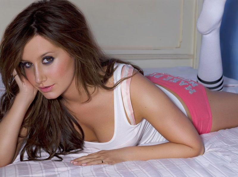 ASHLEY TISDALE PINK SHORTS CLEAVAGE