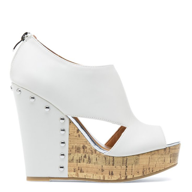 High contrast white wedge sandal by MADISON