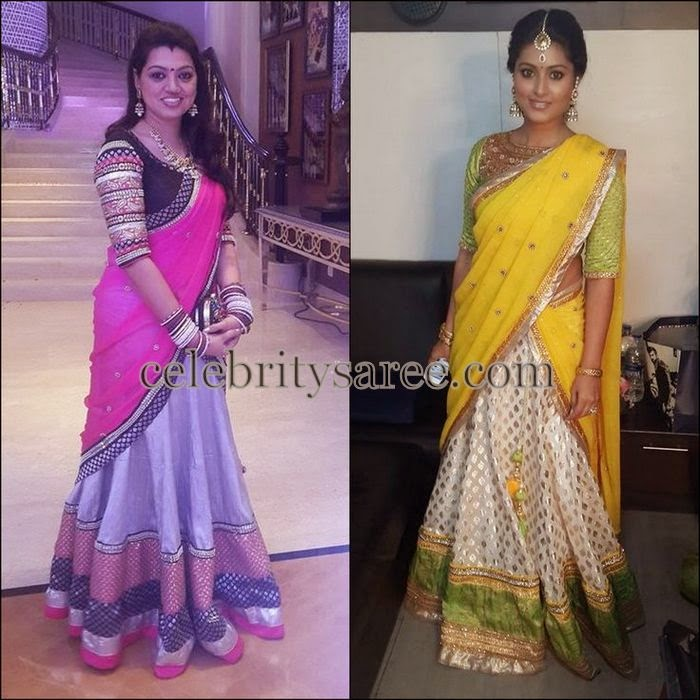 Sneha and Her Sister in Half Sarees