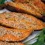 Baked Yams with Hemp Seeds and Nutiva Extra Virgin Coconut Oil