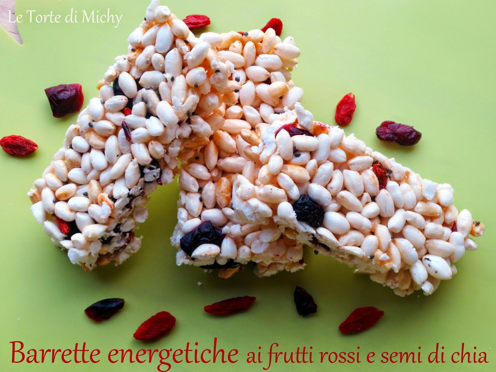 barrette energetiche ai frutti rossi e semi di chia