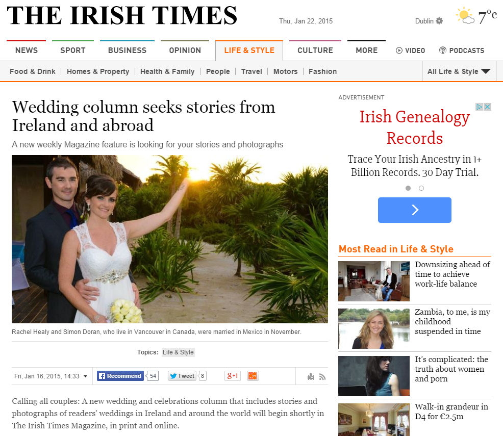 Wedding column seeks stories from Ireland and abroad