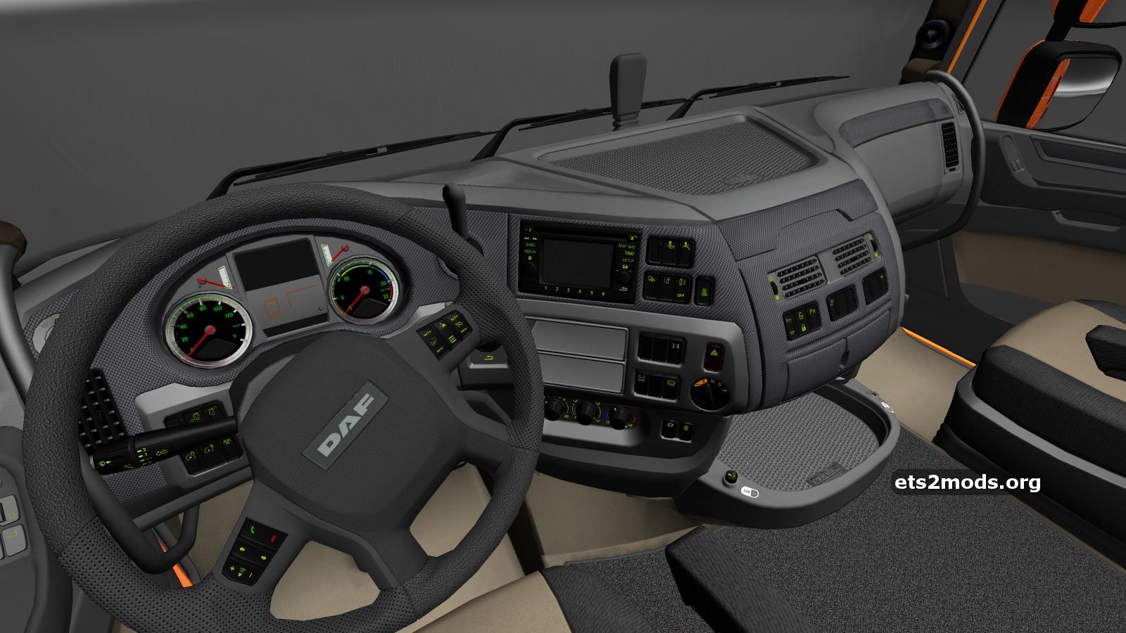 Daf euro 6 dark gray interior ets2 mods for Daf euro 6 interieur