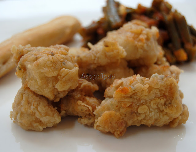 Pollo adobado y frito