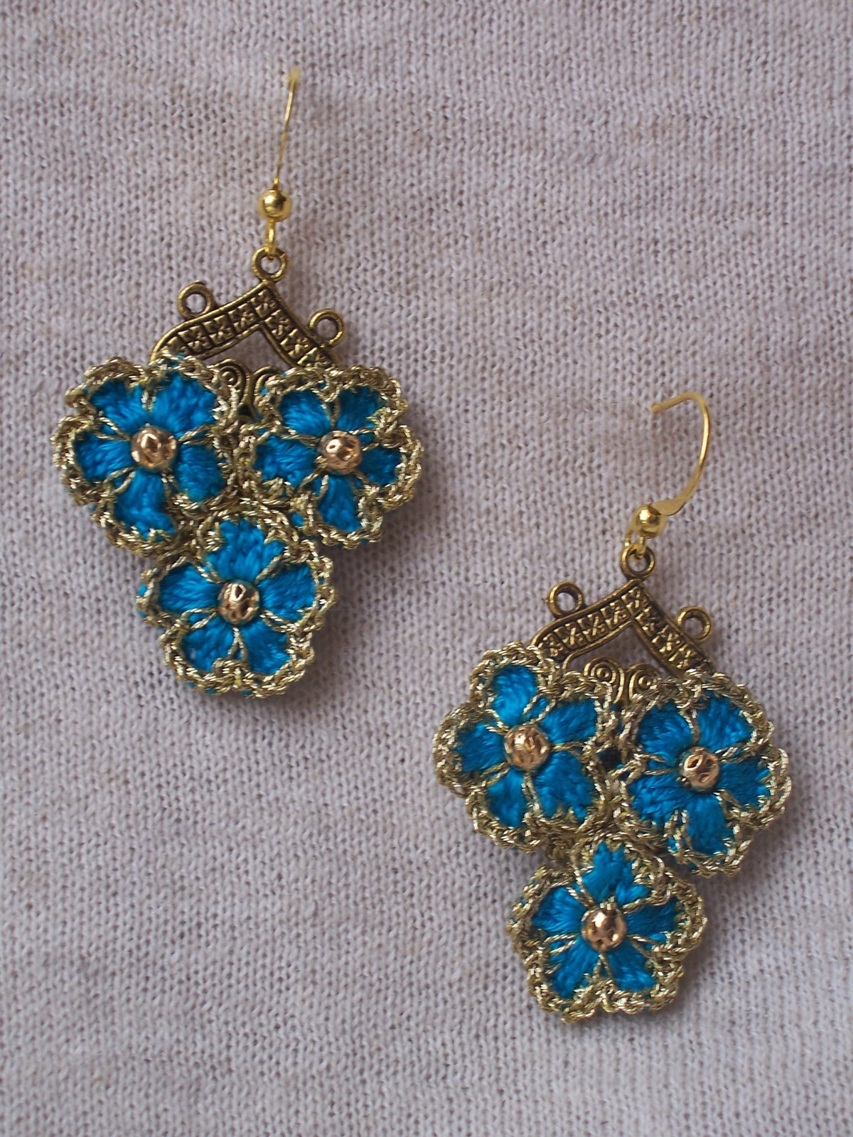 Crochet Earrings : Crochet Earrings Forget-me-not