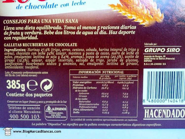 Información nutricional e ingredientes de las galletas digestive avena con chocolate con leche Hacendado de Mercadona.