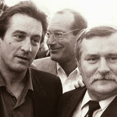 Robert De Niro, Aronn Milchan and Polish President Lech Walesa