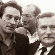 Robert De Niro, Aronn Milchan and Polish President Lech Walesa