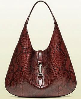 bolsa New Jackie Gucci coleção Jackie Soft bourdeaux python