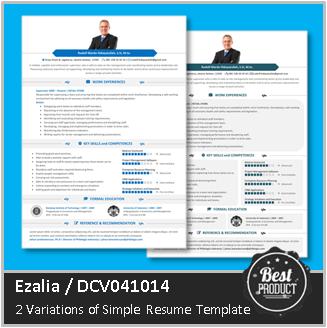 Desain CV Kreatif: Contoh CV Profesional  Ezalia