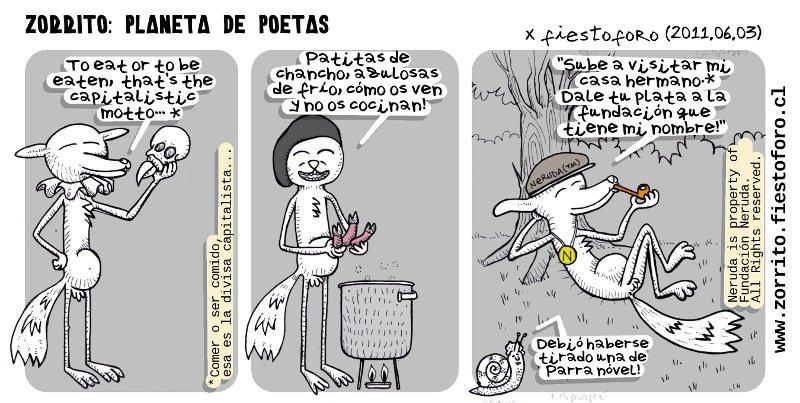 Caricatura de Zorrito Culpeo - Poetas