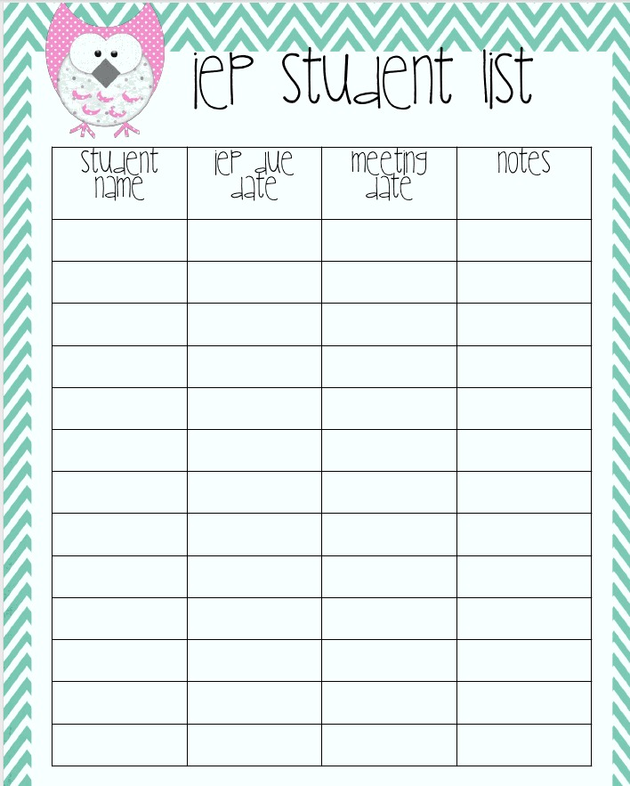 Simply Speech Monday Lets Get Organized – Student List Template