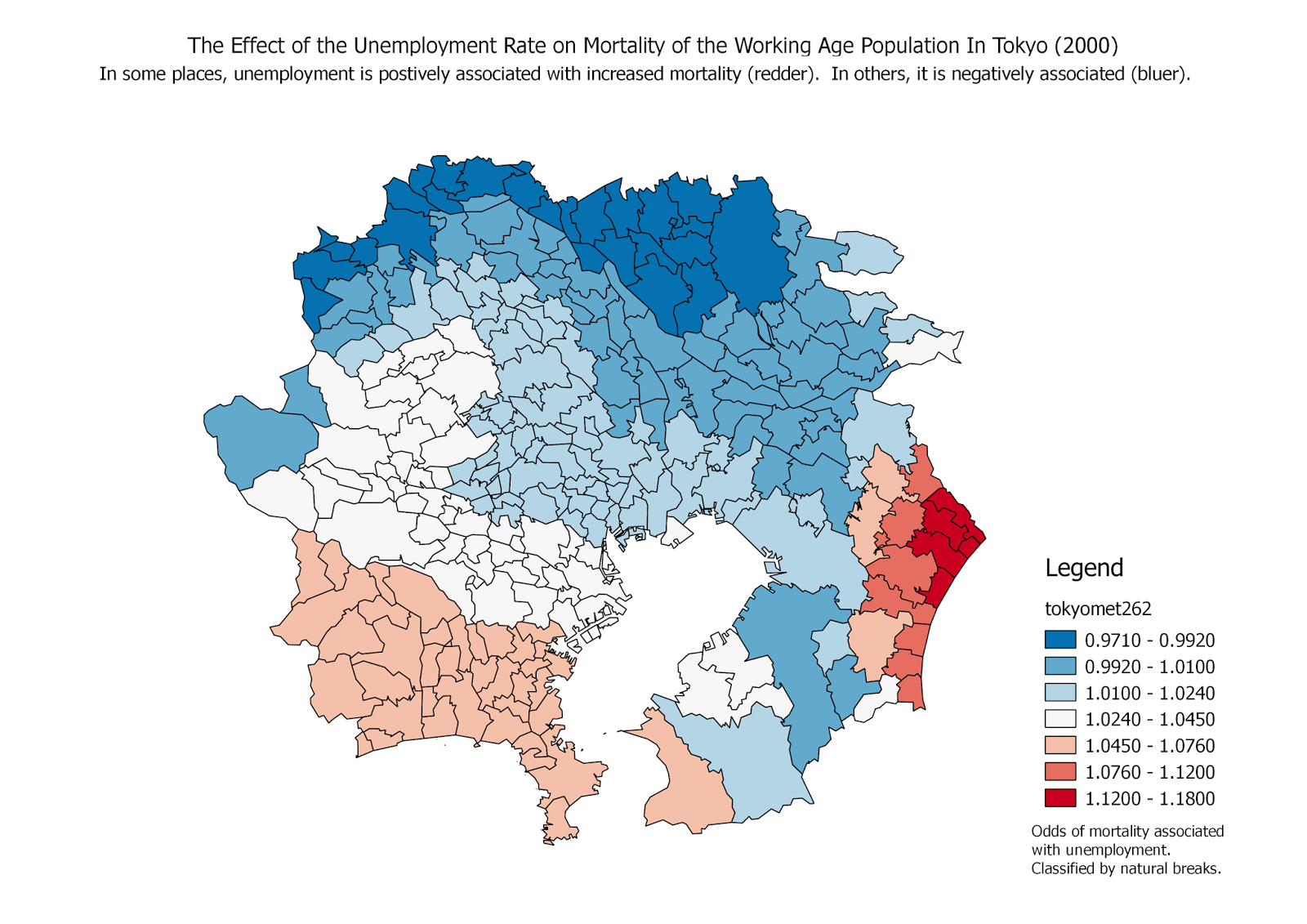 open source gis blog gwr4 software for geographically weighted odds of the effects of the unemployment rate on mortality among the working age population each of the 262 municipalities in tokyo has an estimate of