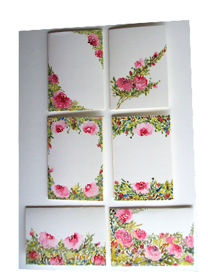 artist,office,supply,papercraft,hobby,painted,watercolours,illustration,pinkflowers,white,background,design