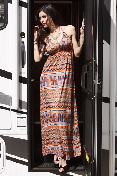 ORANGE MULTI TRIBAL PRINT V NECK O RING HALTER MAXI DRESS