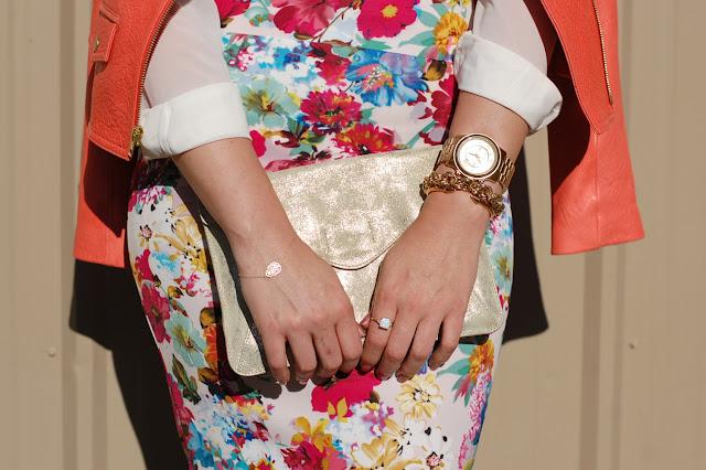 Gold clutch, Michael Kors runway watch and Vita Fede Mini Titan bracelet.