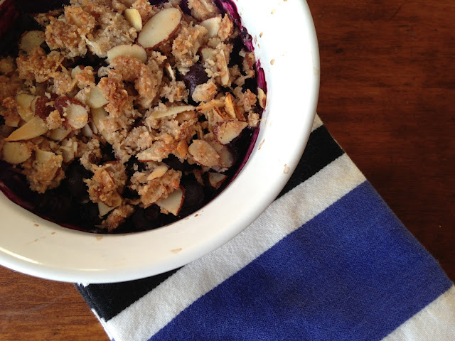 Worthy Pause Paleo Food Blog: Paleo Blueberry Almond Crisp Recipe