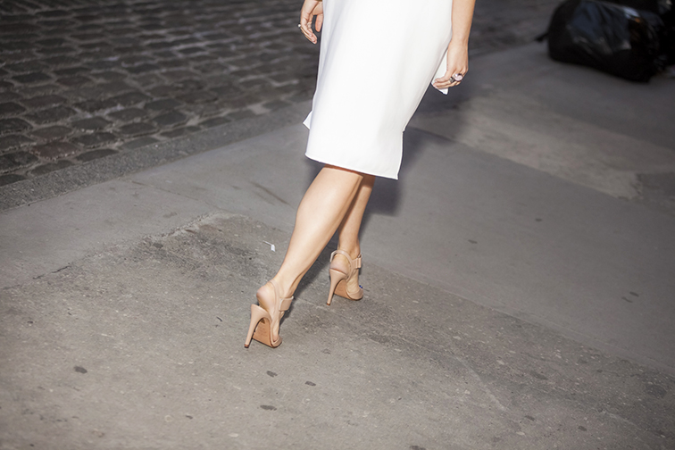 Vince Genna sandals, white dress, walking away, sling back heels, pink & silver Saint Laurent Arty Ring, street style